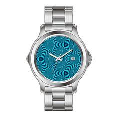 KSD Custom Gift Watch Women's Fashion Japanese Quartz Date Stainless Steel Bracelet Wrist Watch Blue Swirls Kaleidoscope Watches ** Unbelievable  item right here! : Unique Women Watches