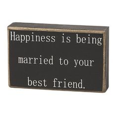 Collins Happiness is Being Married Decorative Box Sign