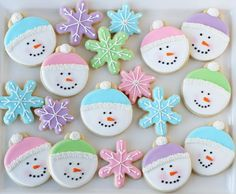 Pretty Pastel Snowmen & Snowflake Decorated Cookies - from glorioustreats.com