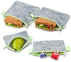 Nordic By Nature Premium Grey Neon Green Sandwich Snack bags Designer Set of 4 Pack Resealable Reusable and Eco Friendly Dishwasher Safe Lunch Bags Functional Easy Open Zipper Great Value *** Check this awesome product by going to the link at the image. Diy Reusable Sandwich Bags, Reusable Bags, Reusable Things, Kids Lunch For School, School Lunches, School Days, Diy Snacks, Produce Bags, Snack Bags