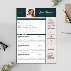 Get the recruiters attention! With this professionally designed resume template you will make a great first impression. It is clear and it's easy for the recruiter to find important information fast. Click and see more! Modern Resume Template, Cv Template, Resume Templates, Cv Design, Resume Design, Fashion Resume, Cv Cover Letter, Professional Cv, Resume Cv