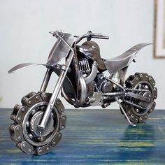 Auto parts sculpture, 'Rustic Motorcross Bike' - Collectible Recycled Metal Motorcycle Sculpture (image 2)