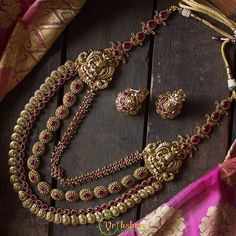 Long Lakshmi Gold look like Coin & Pearl Haaram – Vriksham India Gold Bangles Design, Gold Jewellery Design, Stylish Jewelry, Fashion Jewelry, Gold Temple Jewellery, Gold Jewelry, Indian Wedding Jewelry, India Wedding, Bridal Jewelry