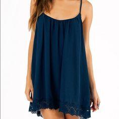 Navy blue dress Navy blue dress win a floral lace bottom and adjustable straps Tobi Dresses