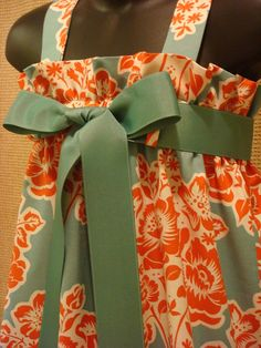 Easter Dress  Teal and Paprika Floral Secret by abushelandapeckbiz, $25.00