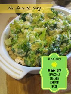 Brown Rice Broccoli Chicken Cheese Bake...NO disgusting cream of anything canned soup in this! Leave the chicken out for vegetarian or substitute