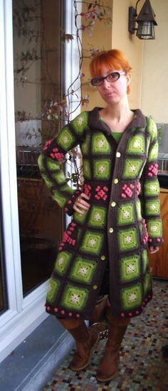 #Crochet granny square coat / jacket.  The  color play is nice, though I wouldn't have used bobbles.
