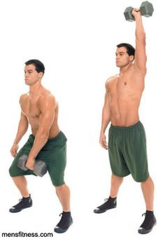 Dumbbell Snatch -- one of the absolute best exercises for shredding fat. Hits the front deltoid, but also works the back, legs, and core.