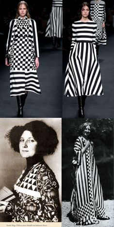 Valentino's runway fashions, Fall 2015, along with Wiener Werkstätte artist Emilie Flöge, wearing 1910 fashion by Koloman Moser (left), and a 1905 dress by Gustav Klimt (right).