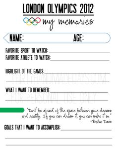 olympics memories for kids to fill out from @Mique Provost