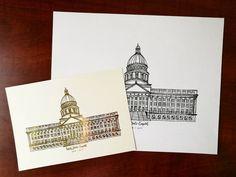 Utah State Capitol - gold foil// line art - @rosaclairstudio