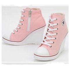Platform Wedge Heels Sneakers Ankle Boots High Top Women's Girls Lace Zip Canvas