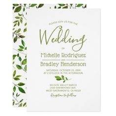 Modern Tree Greenery Watercolor Foliage Wedding Card - tree wedding gifts marriage unique special customize