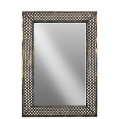 Benzara Stylish Rectangular Easel Floor Mirror - Lattice Design Frame Bronze