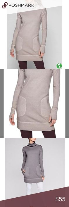 e4fc26385e7 Athleta Eco wash Turtleneck Sweatshirt Dress NWT. Color is Silver bells  (first 2 photos