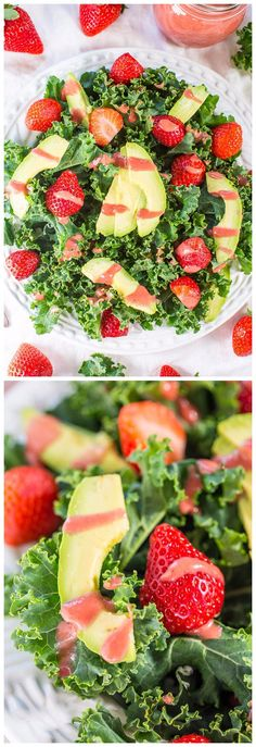 Strawberry, Avocado, and Kale Salad with Strawberry-Apple Cider Vinaigrette