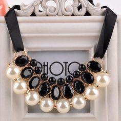 Pérola gargantilha colar 2015 nova fita Bead Rhinestone cadeia colares jóias presentes em Gargantilhas de Jóias no AliExpress.com | Alibaba Group