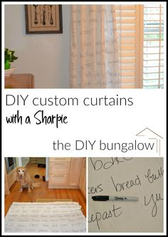 How to DIY custom curtains with a sharpie - thediybungalow.com