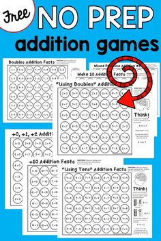 free addition games 9 NO PREP addition games that teach addition strategies! Great addition activities for kindergarten and first NO PREP addition games that teach addition strategies! Great addition activities for kindergarten and first grade! Free Math Games, Math Games For Kids, Kindergarten Games, Math Activities, Addition Activities, Teaching Addition, Grade 2 Math Games, 2nd Grade Math Games, Maths Fun