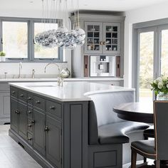Home Interior Cocina Gray and white-top curved kitchen island.Home Interior Cocina Gray and white-top curved kitchen island Living Room Kitchen, Home Decor Kitchen, Diy Kitchen, Kitchen Ideas, Eclectic Kitchen, Rustic Kitchen, Kitchen White, Kitchen Trends, Eclectic Decor