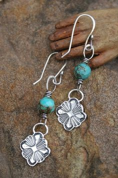 Southern Cross handmade silver and turquoise earrings by derynmentock on Etsy https://www.etsy.com/listing/64039299/southern-cross-handmade-silver-and