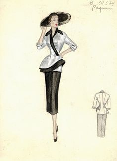 The hat flow mimics the bottom of the shirt flow Vintage Fashion Sketches, Fashion Illustration Vintage, Fashion Design Sketches, Illustration Sketches, Fashion Illustrations, Vintage Dress Patterns, Vintage Dresses, Vintage Outfits, Fashion History