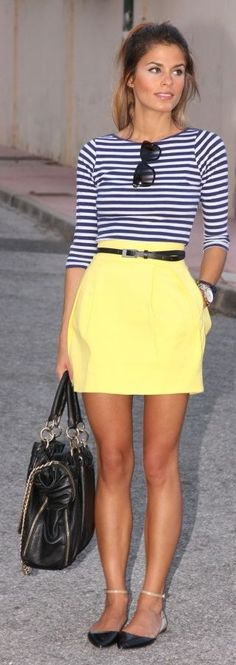 Adorable Yellow Skirt With White Lining Shirt by Fun & Fashion Hub