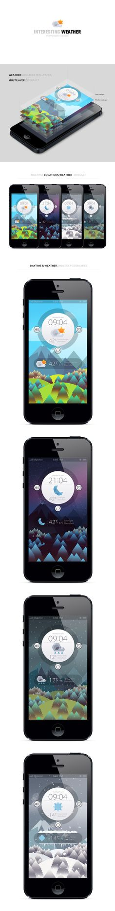 Interesting Weather - weather and weather wallpaper by PeppermintDESIGN *** #app #iphone #gui #weather