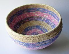 Coiled Fabric Basket - PInk, Blue, and Tan Stripes. $30.00, via Etsy.