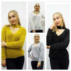 Women's Ladies Long Sleeve V Choker Neck Lurex Knitted Jumper Lurex Shiny  Top