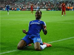Didier Drogba of Chelsea celebrates after scoring his team's first goal during UEFA Champions League Final between FC Bayern Muenchen and Chelsea at the Fussball Arena München on May 19, 2012 in Munich, Germany