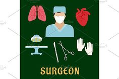 Surgeon profession with flat icons. Human Icons. $6.00