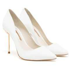 SOPHIA WEBSTER Coco Pointed Leather Pumps ($455) ❤ liked on Polyvore featuring shoes, pumps, heels, sapatos, pointed-toe pumps, white leather shoes, white stiletto pumps, white pumps and pointy toe stilettos