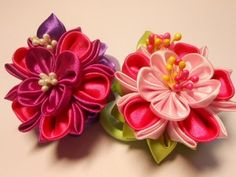Цеток канзаши на резинку МК/DIY Flower kanzashi on elastic - YouTube