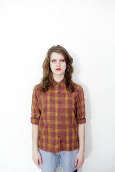 Vintage shirt / rust checked long sleeve shirt / size S-M via Etsy