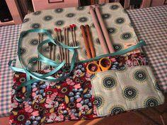 Handmade knitting needle roll, via Flickr.