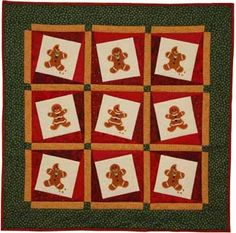 LindeeGEmbroidery, Gingerbread Fun Quilted Wall Hanging from Gingery Christmas