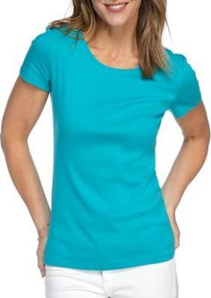 New Directions Weekend Turquoise Bliss Solid Ribbed Fashion Knit Tee