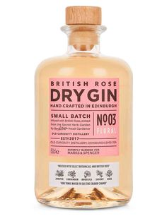 Buy the British Rose Colour Changing Dry Gin - Single Bottle from Marks and Spencer's range. Design Package, Label Design, Packaging Design, Graphic Design, Design Design, Coffee Packaging, Bottle Packaging, Chocolate Packaging, Food Packaging
