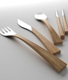 """Natural"" Cutlery set - Sliver and Wood Design by Clara del Portillo and Alejandro Selma (Spain)"