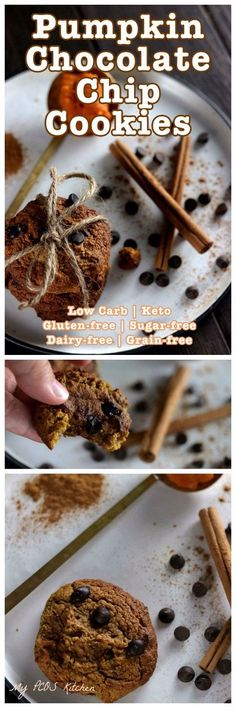 My PCOS Kitchen - Keto Flourless Pumpkin Chocolate Chip Cookies - These gluten-free, sugar-free and dairy-free cookies are perfect for Halloween or Thanksgiving! #keto #pumpkin #lowcarb #lchf #cookie Healthy Gluten Free Recipes, Sugar Free Recipes, Gluten Free Desserts, Low Carb Recipes, Healthy Snacks, Delicious Recipes, Dairy Free Cookies, Keto Cookies, Cookies Et Biscuits
