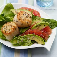 The addition of scallops turns a traditional grapefruit and avocado salad into an elegant entree. The flavorful duo of thyme leaves and ginger gives this dish an unexpected, yet perfect pairing of flavors.