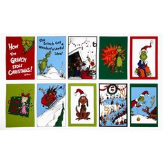 How The Grinch Stole Christmas Panel Holiday Red/Green from @fabricdotcom  From Dr. Seuss Enterprises for Robert Kaufman Fabrics, this fabric is perfect for quilting, craft projects, apparel and home decor accents. Colors include brown, red, yellow, pink, black, blue, orange, white, lime and pine green. Sold only by the panel which measures 24'' X 44''.