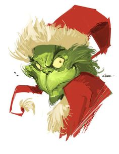 It's December, which makes it the perfect time to watch How The Grinch Stole Christmas. Take a look at some fan art to get you psyched for Movie Friday! O Grinch, Grinch Stole Christmas, Grinch Stuff, Dark Christmas, Christmas Art, Illustration Inspiration, Illustration Art, Grinch Drawing, Grinch Christmas Decorations