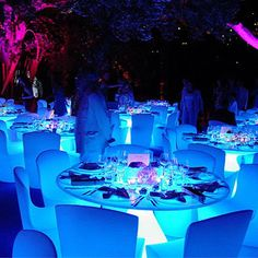 Light tables from under it | I also like to cover these tables with a sheer overlay to soften/change the look...