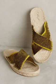 Miss Albright Crossed Espadrille Slides Chartreuse  Flats #anthrofave