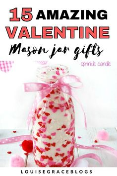 Diy Valentines Day Gifts For Him, Valentine Crafts, Mason Jar Gifts, Mason Jar Candles, Spa In A Jar, Craft Images, Jar Crafts, Valentine Decorations, Homemade Gifts