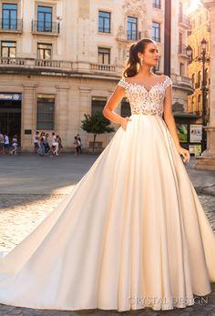 crystal design 2017 bridal off the shoulder sweetheart neckline heavily embellished bodice romantic a  line wedding dress with pockets sheer back royal train (diana) mv