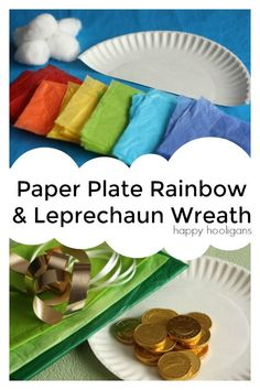 2 Fun and easy St. Patrick's Day crafts for preschoolers. Paper Plate Rainbow and Leprechaun wreath - Happy Hooligans