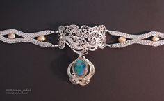 Nouveau II Russian Filigree and Undulating Mesh chain choker 22K gold, fine silver, sterling silver, Koroit opal, freshwater pearls Victoria Lansford